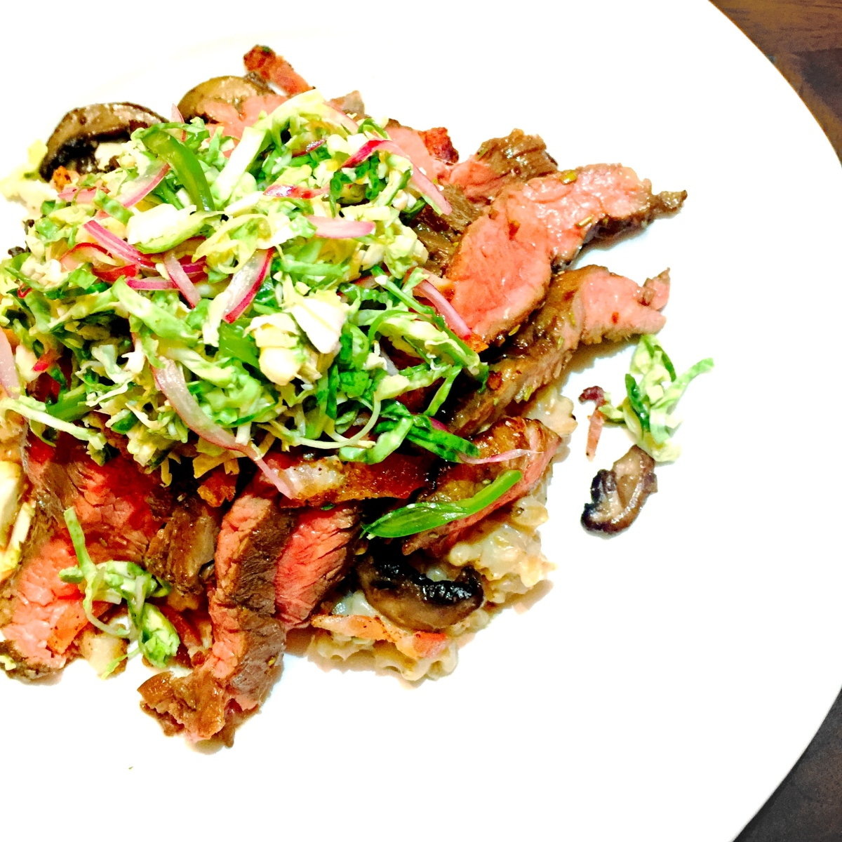 pan grilled flank steak + farro risotto + mushrooms + Brussels sprout ...